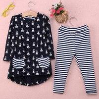 New Girls Clothes Fashion Cute Kids Cartoon Rabbit Print Pocket Dress And Striped Leggings 2pcs Children