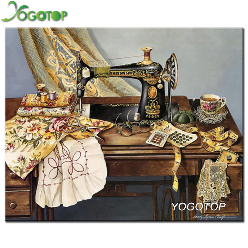 YOGOTOP Diy Diamond Painting Mother's sewing machine Full Rhinestones Cross Stitch 5D Mosaic Diamond Embroidery Home Decor ZB818