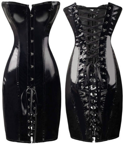 Gothic Steampunk Wet Look Black/Red PVC Corset Dress Women Night Clubwear DS Costume