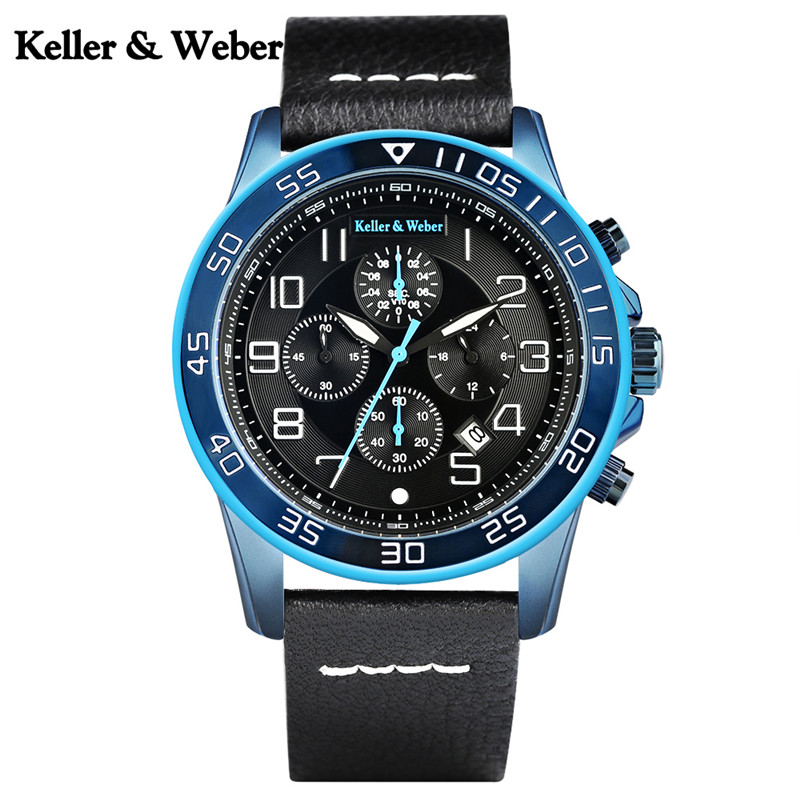Keller & Weber Luxury Sport Mens Quartz Watches Blue/Red Chronograph Date with Genuine Leather Watchband High Quality Watch Gift цена