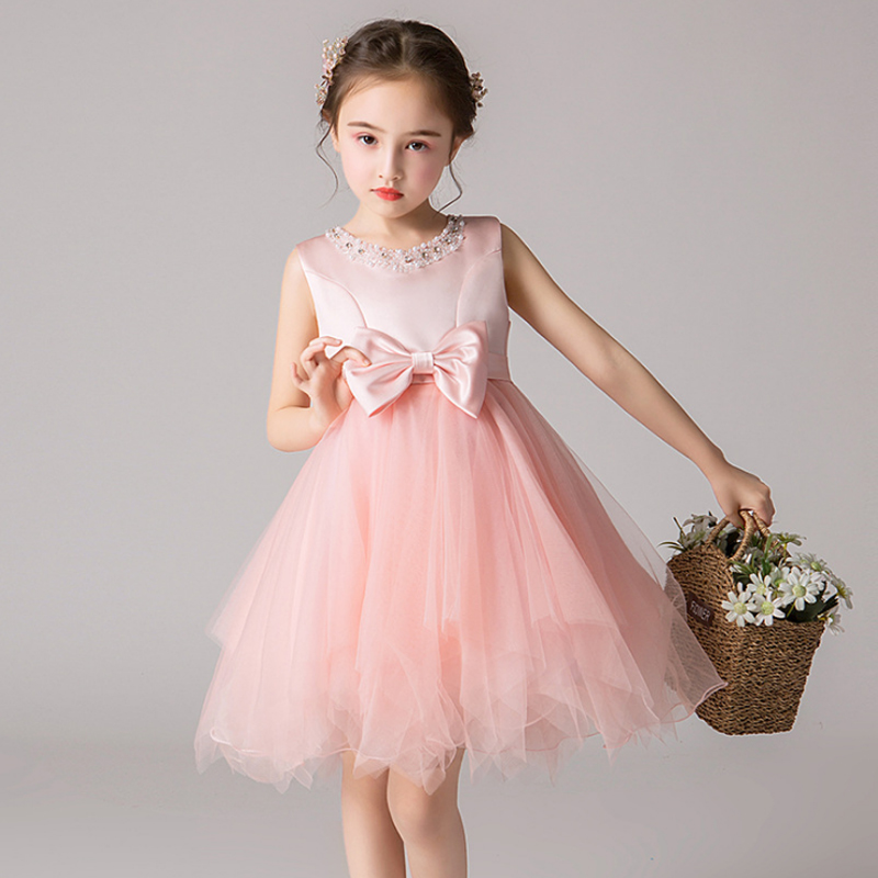 It's YiiYa Kid Party Dresses For Girls  Beeding O-Neck Tank Ball Gown Bow Comunion Dress Pageant Dress For Wedding 2019 BX2806