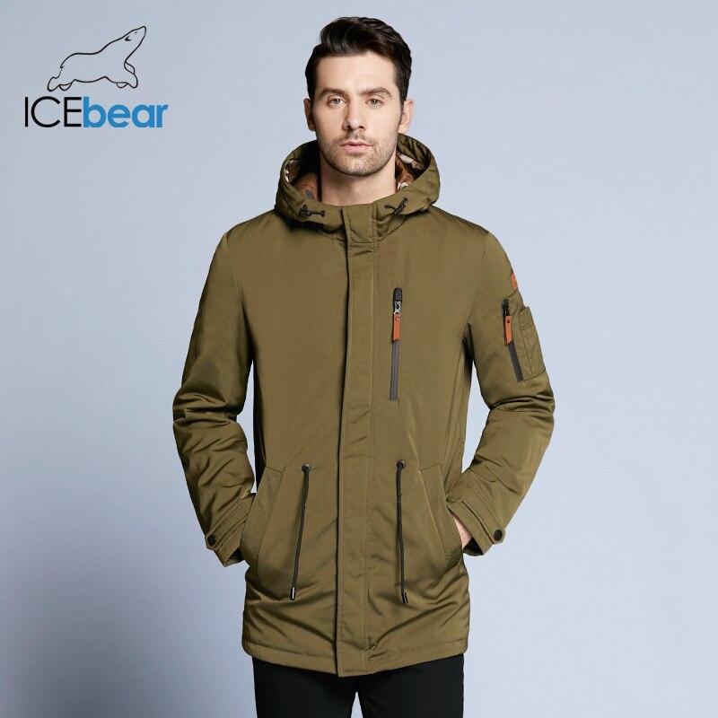 ICEbear 2019 Trench Coat pour hommes taille réglable chapeau détachable automne hommes décontracté moyen Long marque manteaux 17MC017D