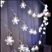 AC220V 10 м 50LED Рождественские огни Снежинка лампа праздничное освещение для наружной/свадебной вечеринки украшения занавески гирлянды