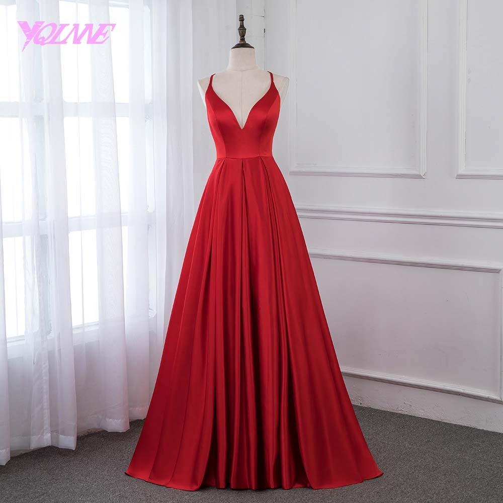 YQLNNE 2019 Red Satin Long Prom Dresses Formal Evening Gown Women Dress Back Cross YQLNNE