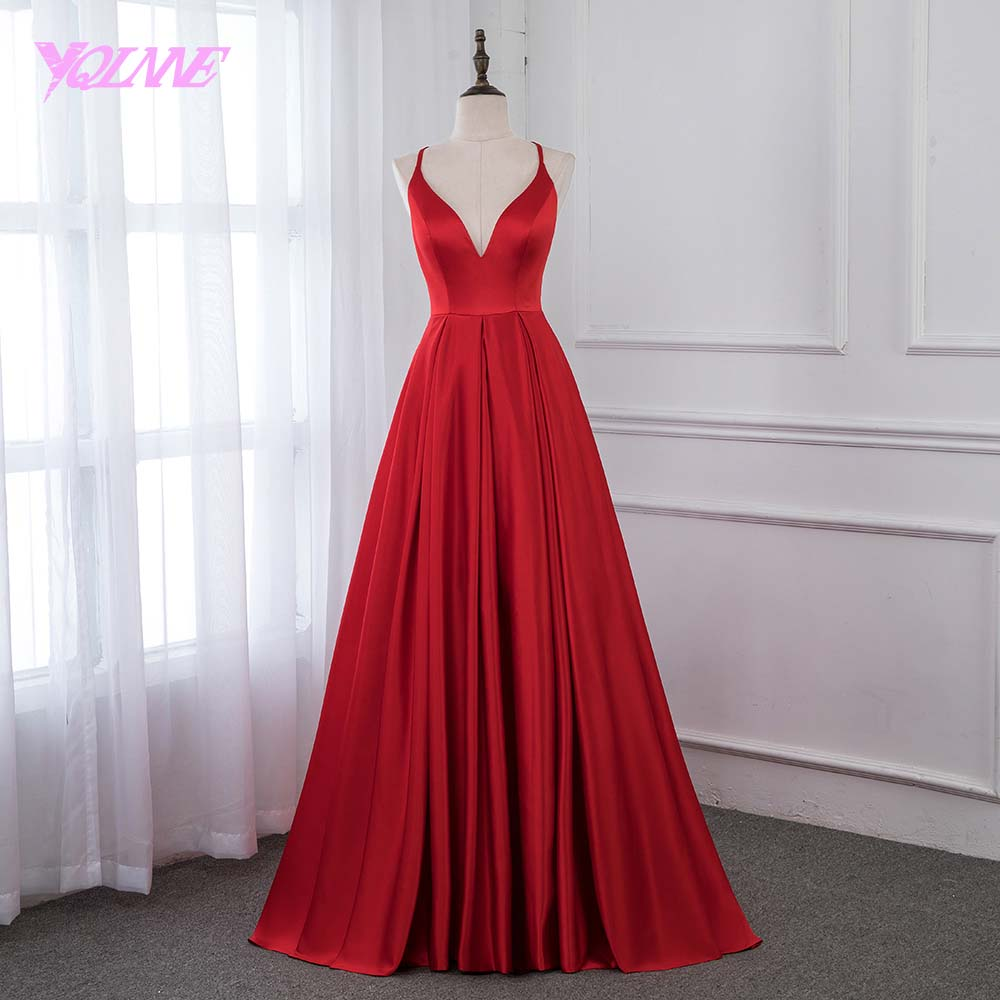 YQLNNE 2019 Red Satin Long   Prom     Dresses   Formal Evening Gown Women   Dress   Back Cross YQLNNE