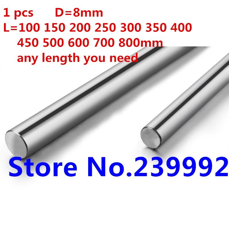 8mm Dia Linear Motion Shaft Hardened Rod Length 100-600mm For 3D Printer CNC