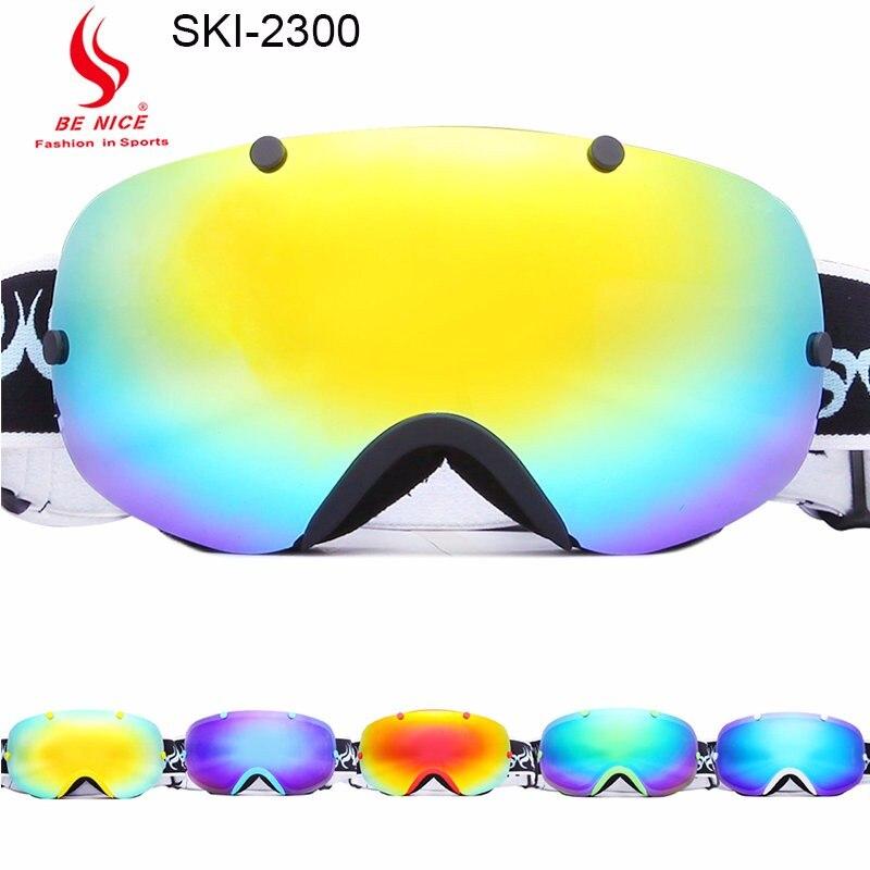 Бренд лыжные очки двойной линзы UV 400 Анти-туман горнолыжные очки мужские и женские зимние очки