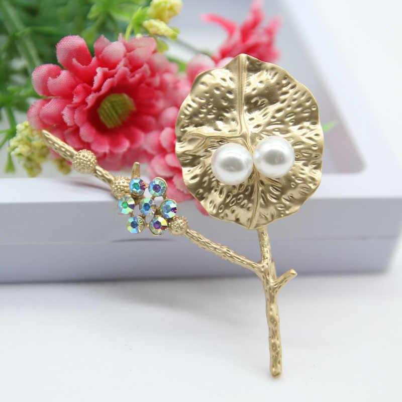 Rhao Warna Emas Daun Lotus Besar Bros Pins untuk Wanita Pria Setelan Baju Kaos Kerah Jarum Korsase Aksesoris Pakaian Syal klip