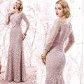 La más nueva luz rosada larga de encaje fuera del hombro madre de la novia vestidos palabra de longitud vestido para la boda la madre del novio MBD169