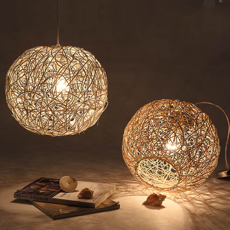 Modern Style Rattan Pendant Lamp Light AC 90 260V For