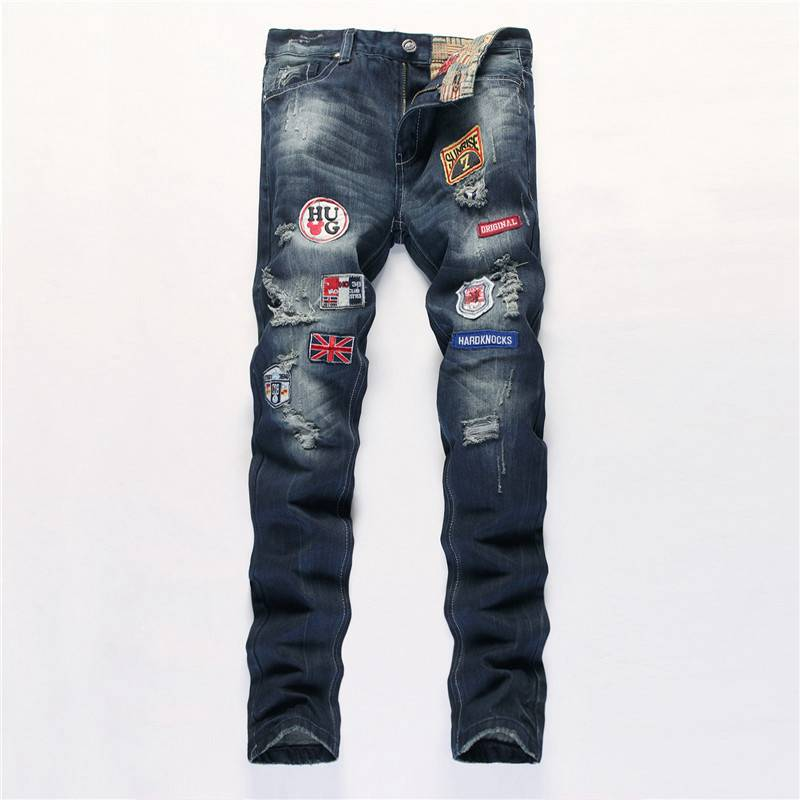 #1539 2016 Hip hop jeans men Fashion Straight Slim fit Distressed jeans homme Jogger Motorcycle Skinny ripped jeans for men