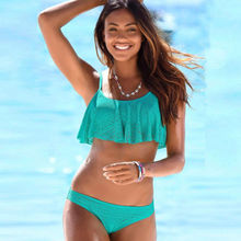 Women Bikini Set Push Up Bandage Solid Color