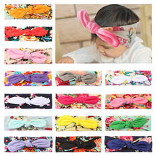 Baby Kid Girls hair ties Rabbit Bow Ear Hairband Headband Turban Knot Head Wraps Kids Turbans Accessoire Headband Baby Headdress(China)
