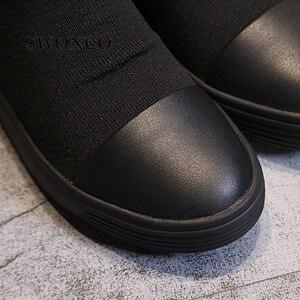 Image 5 - SWONCO 女性のブーツ 2018 秋冬本革ニットウール女性の靴女性ブーツ冬ミッドカーフブーツ女性靴