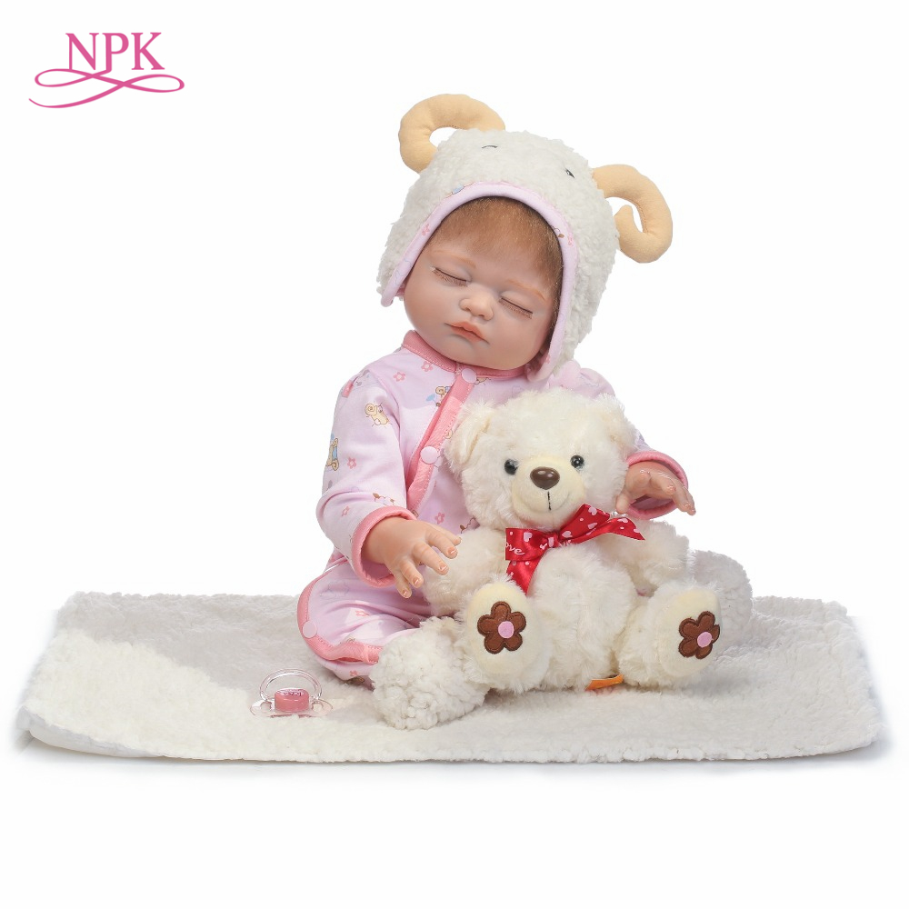 NPK 2017 NEW lifelike full silicone reborn baby girl dolls lovely doll gift for kids