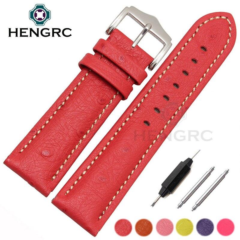 цена HENGRC Ostrich Grain Genuine Leather Watchband New Fashion Watch Band Belt Women 18 20 22mm Bracelet Metal Needle Buckle онлайн в 2017 году