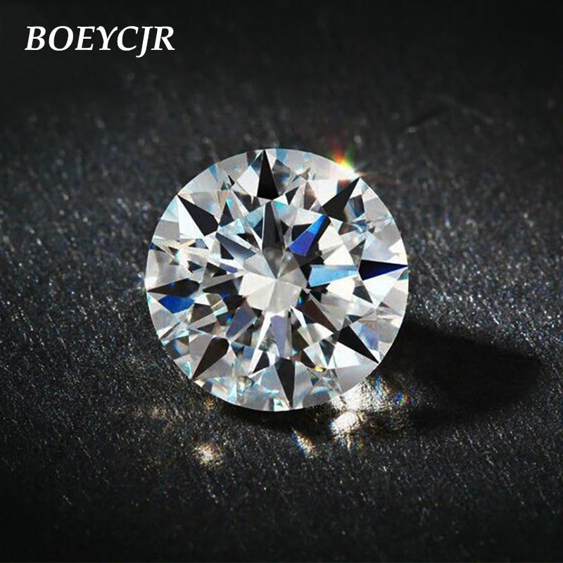 BOEYCJR 2ct 8mm D couleur ronde brillante coupe Moissanite lâche pierre VVS1 excellente coupe bijoux faisant pierre bague de fiançailles