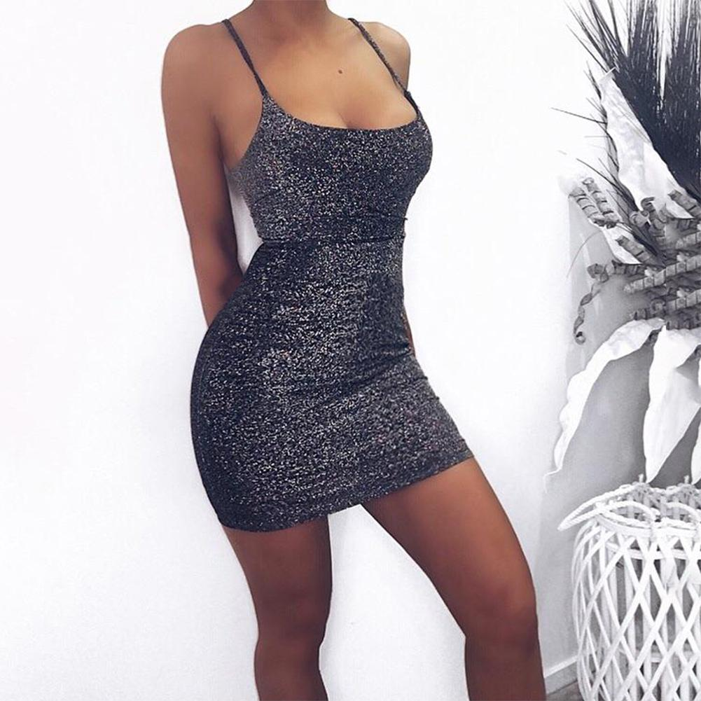 2019 New Yfashion Women Summer Fashion Sexy Deep V neck Sleeveless Sling Slim Bright Silk Dress Top Seling in Dresses from Women 39 s Clothing