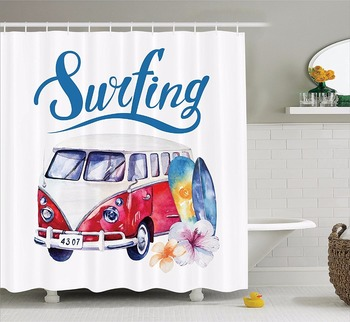 عالية الجودة الفنون دش الستائر تصفح الوقت عربة حافلة شل و زهرة الحمام الزخرفية الحديثة دش مقاوم للماء الستائر|waterproof shower curtain|quality shower curtainshower curtain -