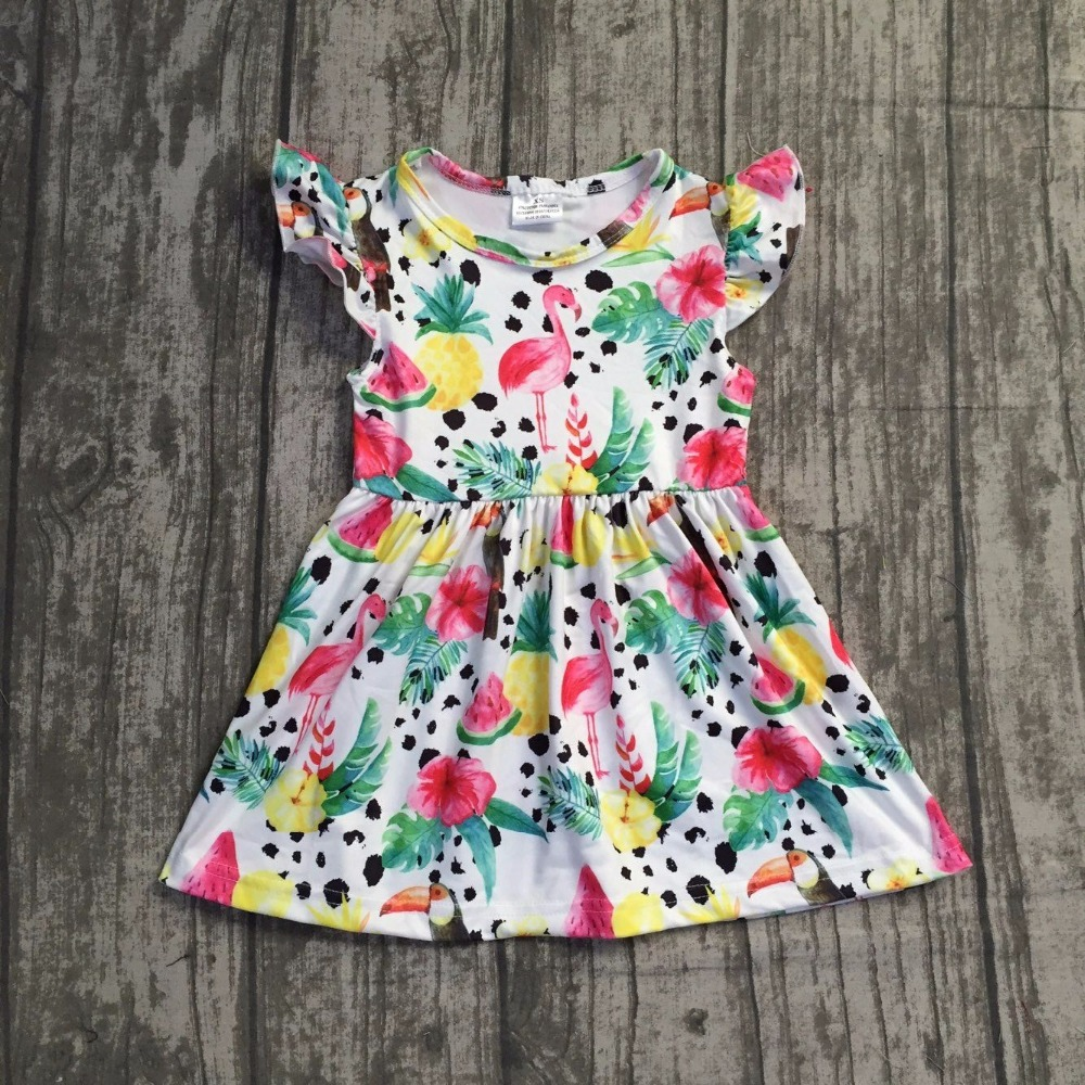 2018 Summer dress baby girls dress short sleeves flamingo fruit pineapple watermelon print girls clothing boutique milk silk flamingo patch zipper swing dress