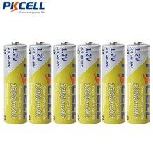 6個pkcell aa nimh充電式バッテリー1300mah 1.2vニッケル水素2Aアキュムレータ電池バッテリー懐中電灯