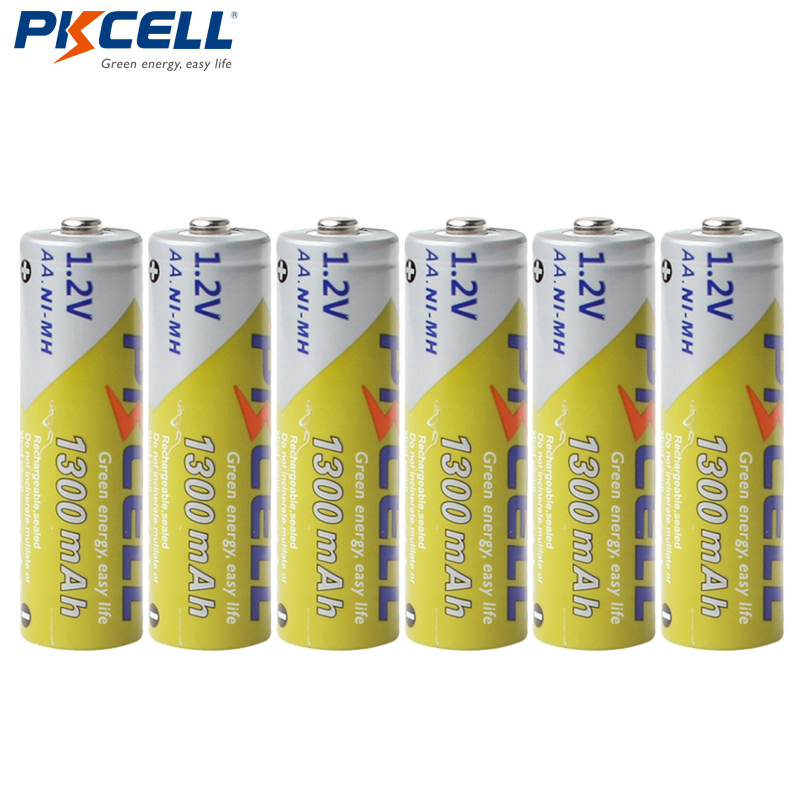 6pcs PKCELL AA NiMH Rechargeable Battery 1300mAh 1.2V Ni-MH 2A Accumulator Battery Batteries For Flashlights image