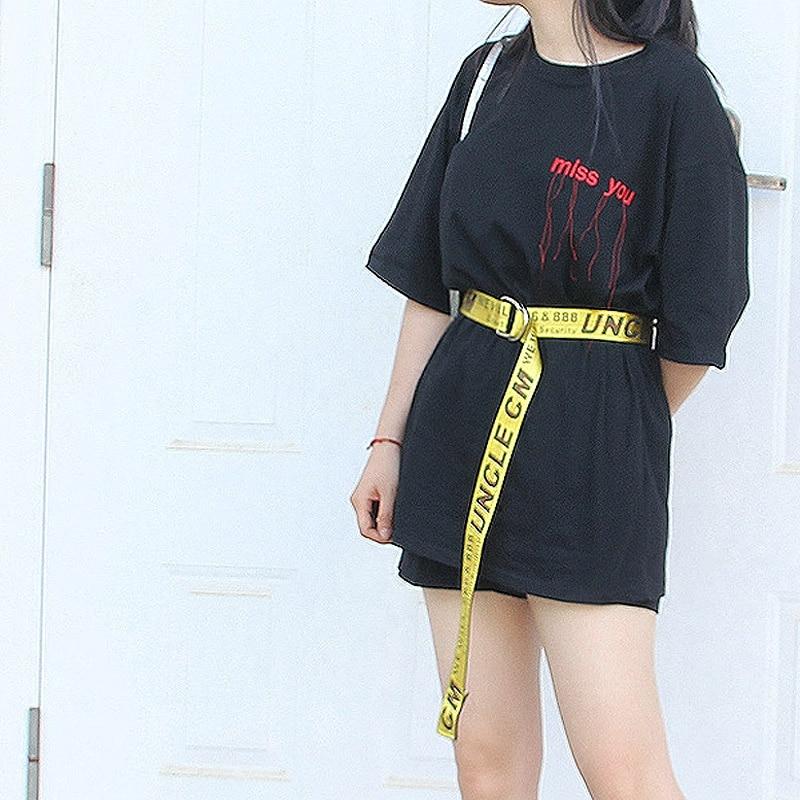 8bf504802 Cinture Donna 2018 Fashion Womens Designer Belts For Dress Korean Style  Harajuku Yellow Letter All-match Long Canvas Belt Women