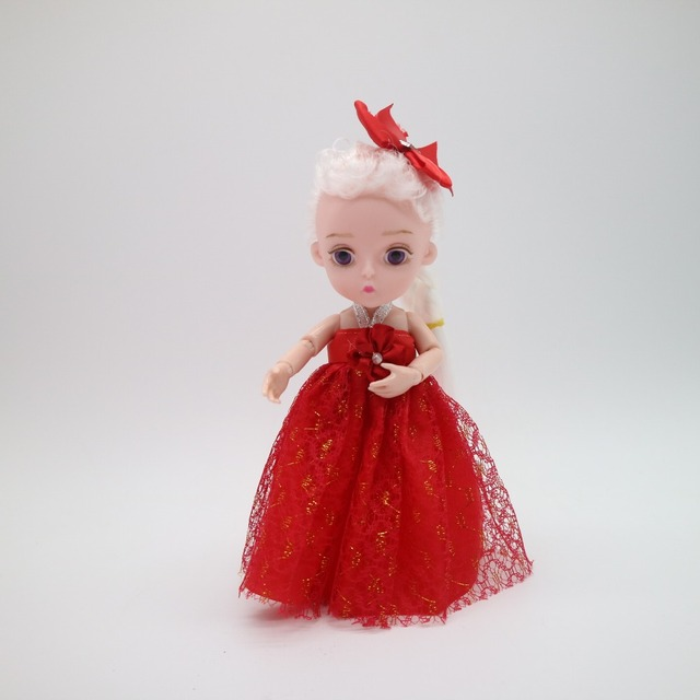 Small Princess Doll 1/8 Cute  bjd  1/8 joint body 3D eye plastic doll suitable for 18 wig face can DIY Head circumference 14cm 5
