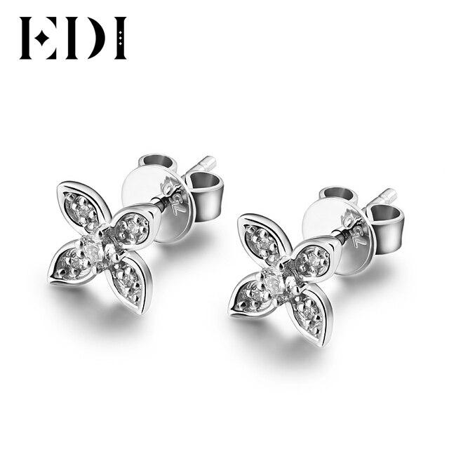 Edi Genuine Natural Real Diamond H Si Wedding Earrings For Women Star Shape 18k White