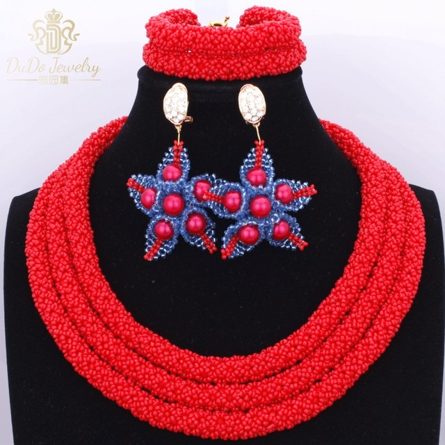 Gorgeous 2018 Hot Red African Nigerian Flower Jewelry set accessories Fashion Women's Beads 3 Layers Bride Party Necklace Set