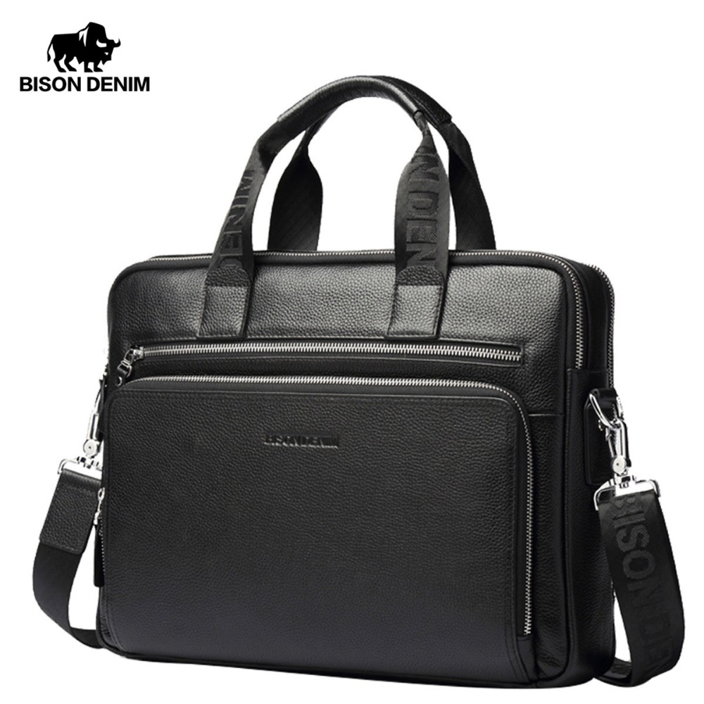 BISON DENIM Genuine leather Briefcases 14 Laptop Handbag Men's Business Crossbody Bag Messenger/Shoulder Bags for Men N2333-3