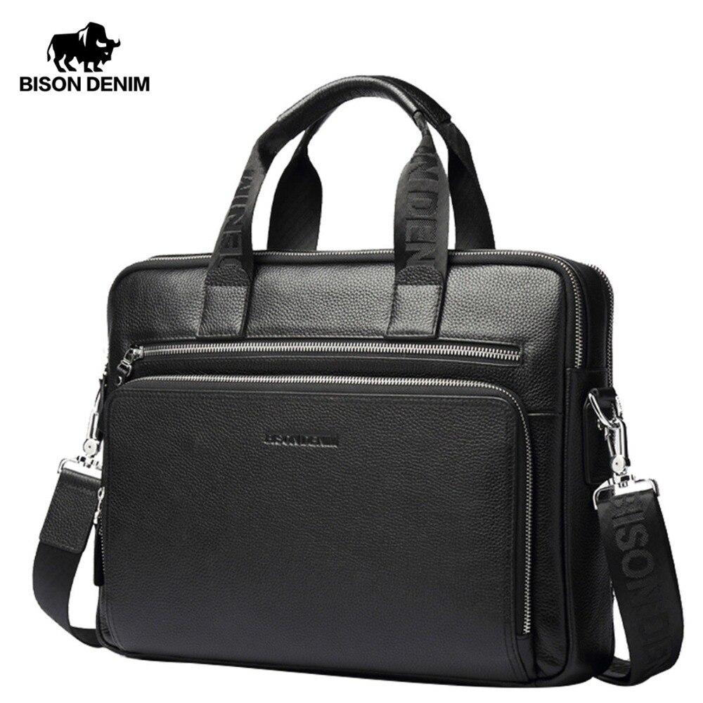 a3aa65cb6a2ee BISON DENIM prawdziwej skóry teczki 14 torba na laptopa męska Crossbody  firm torba/torby na ramię dla mężczyzn N2333-3