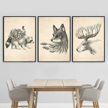 Abstract Wasbeer Vos Herten Forest Wall Art Canvas Schilderij Posters En Prints Nordic Poster Muur Foto 'S Voor Woonkamer Decor(China)