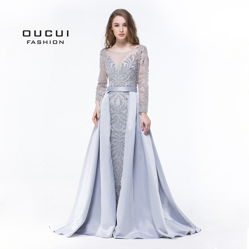 Long Sleeves Muslim Mermaid Evening Dress 2019 Luxury Formal Handmade Crystal Ball Gown Prom Dresses Full
