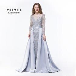 Реальные фотографии одежда с длинным рукавом вечернее платье 2019 Формальные ручной Кристалл бальное Полный бисером OL103025