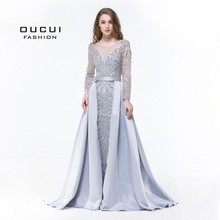 Long Sleeves Muslim Mermaid Evening Dress 2019 Luxury Formal Handmade Crystal Ball Gown Prom Dresses Full Beaded OL103025
