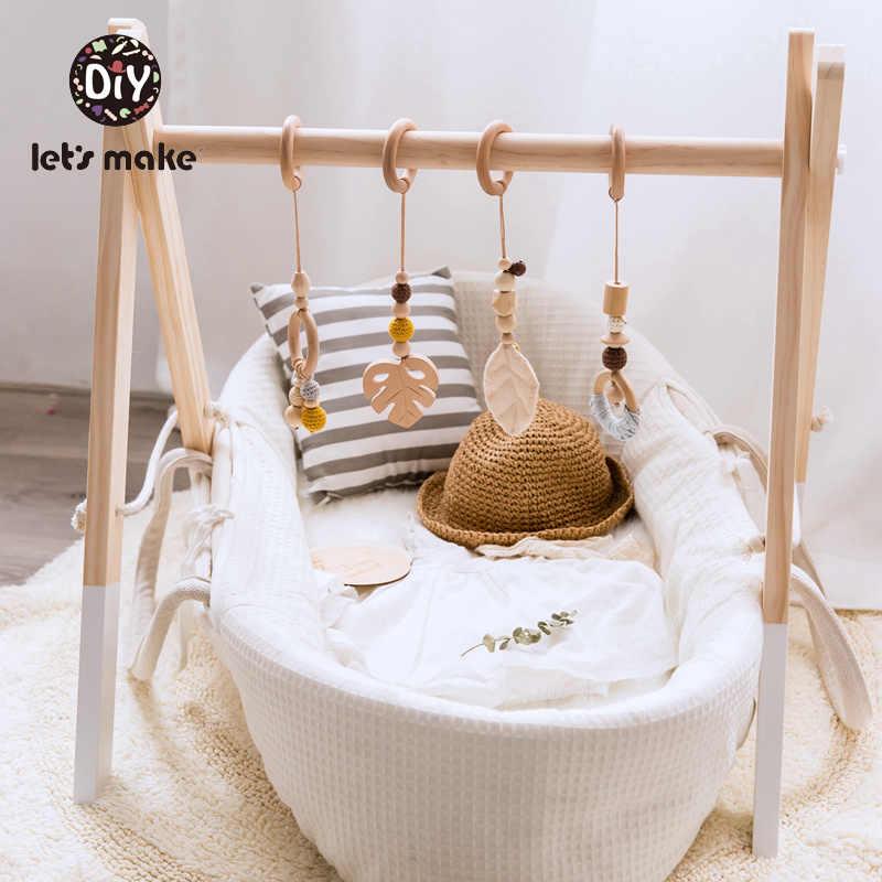 Let's Make ของเล่นเด็ก 1 ชุด/4 pcs Play Gym ลูกปัดไม้ Beech leaf จี้ Teething พยาบาลรถเข็นเด็ก 0-12 เดือนของเล่นเด็ก Rattle