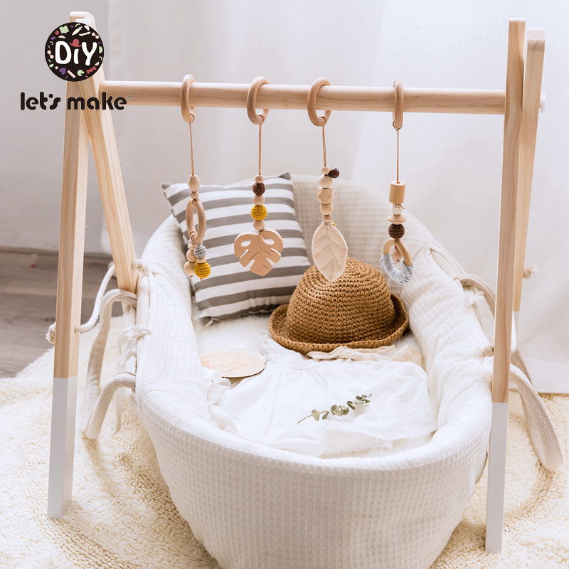 Baby Toys Stroller Wooden-Beads Teething-Nursing 0-12-Months Play Gym Pendant Beech-Leaf
