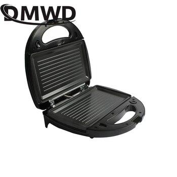 DMWD électrique MINI Oeuf Gaufre Machine à Sandwich Griller 3 Plaques En Option Petit Déjeuner Cuisson Machine Panini Grille-pain Poêle à Pain