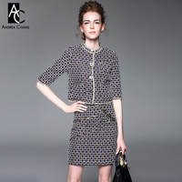 Autumn Winter Runway Designer Womens Clothing Set Blue Red Gray Plaid Pattern Knitted Material Half Sleeve