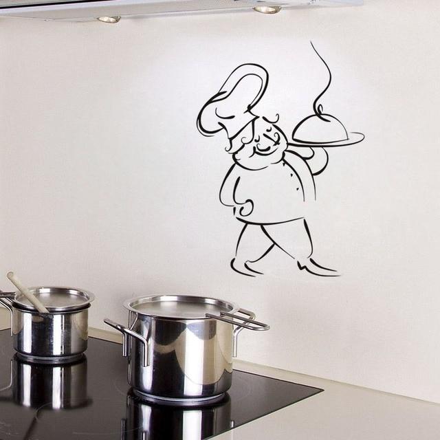 Chef servir comida extraíble comedor pared pegatina dibujos animados ...