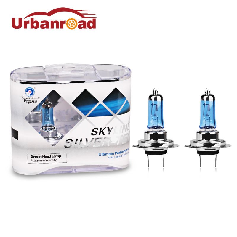 Urbanroad 2pcs/Pair Car 100w h7 halogen lamp bulb headlight Head light h7 12v 100w  xenon White 6000k car halogen lamp + Box 2 pcs h7 6000k xenon halogen headlight head light lamp bulbs 55w x2 car lights xenon h7 bulb 100w for audi for bmw for toyota