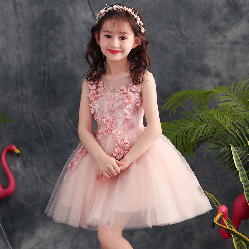 Pink Flower Girl Dresses for Wedding Embroidery Kids Pageant Dress for Birthday Ball Gown Princess Prom Dress Evening Gowns B264 new 2018 summer elegant pink flower princess wedding girls dress kids baby ball gown birthday evening prom dresses clothes