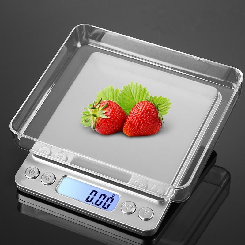 2018 integrado USB cocina Escala de 500g 0,01g de precisión de acero inoxidable de la joyería balanza electrónica Escala de alimentos