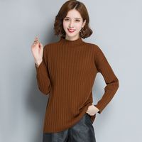 Women S Crew Neck Ribbed Trim Drop Shoulder Knit Basic Sweater
