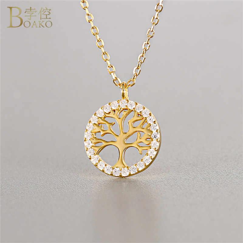 BOAKO Tree of Life คริสตัลสร้อยคอจี้ขนาดเล็ก Hollow Wishing Tree Gold สร้อยคอผู้หญิงสร้อยคอเงิน 925 เครื่องประดับ