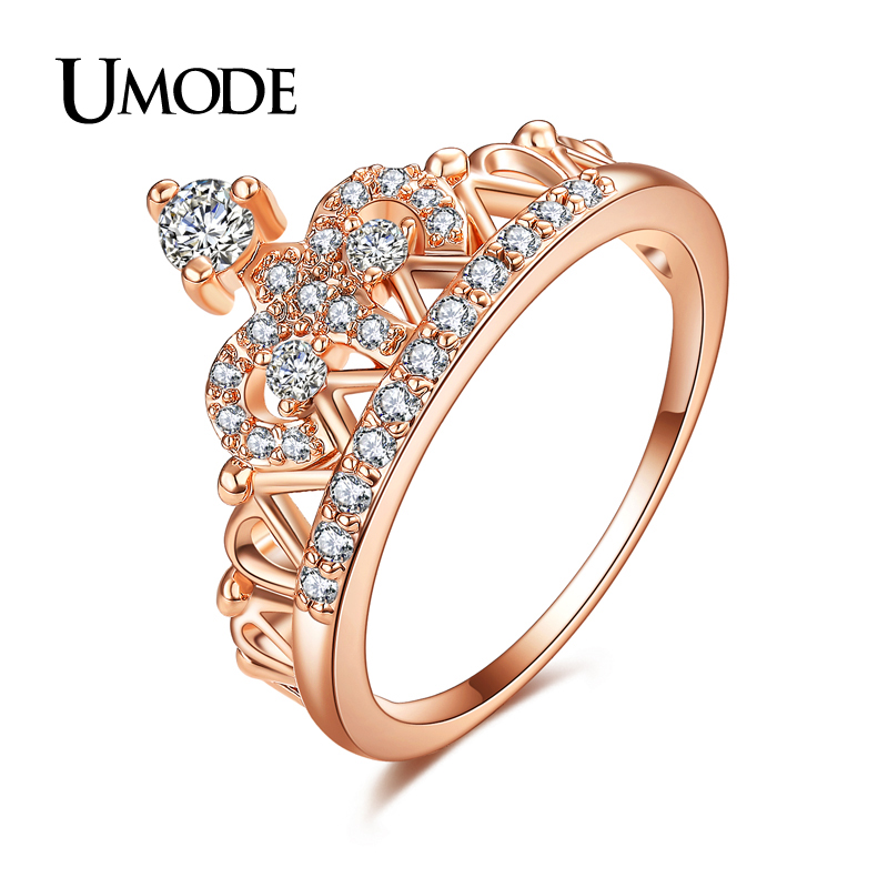 UMODE Exquisite Crown Shaped Ring 18k Rose Gold Plated CZ Diamond Rings for Women Fashion Aneis De Ouro Jewelry UR0217