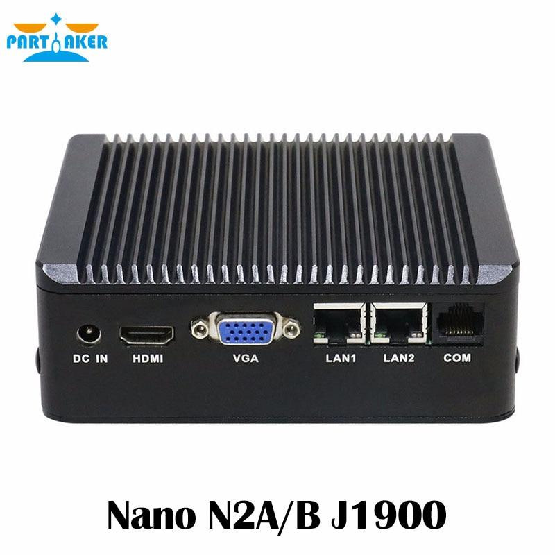 Partaker Fanless Mini PC 2*Lan with celeron J1900 quad core 4*usb VGA HDMI firewall Multi-function router dual lan 4 serial port nano itx board celeron j1900 quad core fanless dc 12v 12 12 cm use for mini pc vending machine