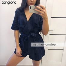 2019 New Spring Summer Jumpsuit Women Striped Rompers Sexy Bodysuit V neck Playsuit Short Sleeve Playsuit