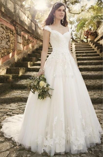 romántica a line vintage vestidos novia simple elegante del cordón